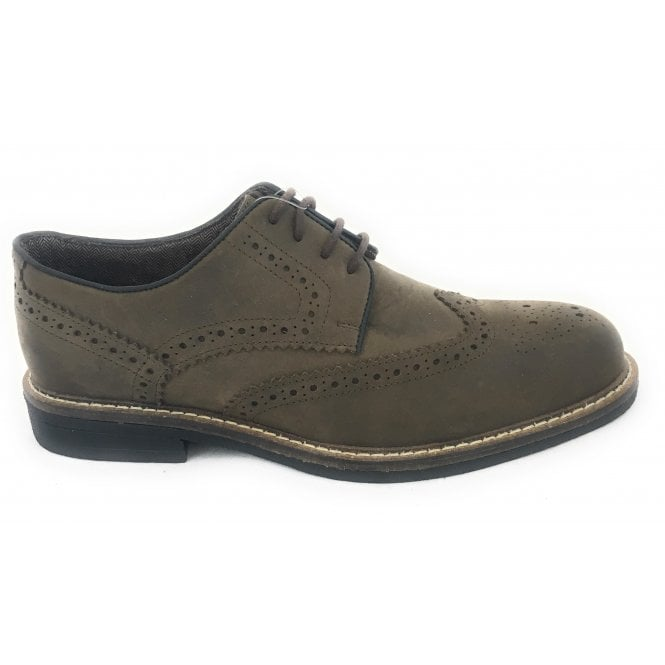 Lotus Danesfield Khaki Waxy Leather Lace-Up Brogue