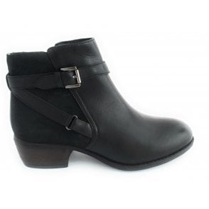 Dani Black Leather Ankle Boot