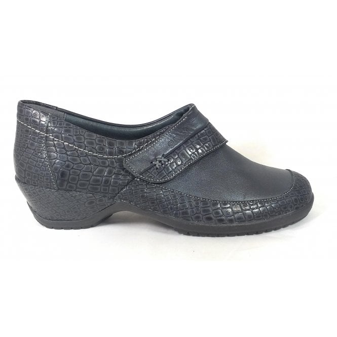 Suave Dark Grey Leather Print Casual Shoes