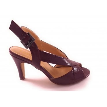 Dark Red Crinkle Patent Open-Toe Sling-Back Sandal