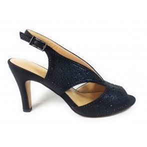 Dazzle Black and Diamante Court Shoes