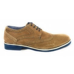 Deacon Sand Suede and Navy Lace-Up Brogue Shoe