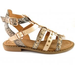 Delaney Beige and Snakeprint Gladiator Sandal