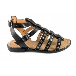 Delaney Black and Snakeprint Gladiator Sandal
