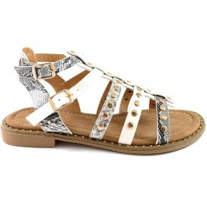 Delaney White and Snakeprint Gladiator Sandal