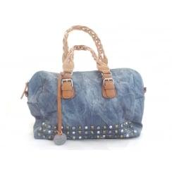 Denim Blue and Tan Shoulder Bag