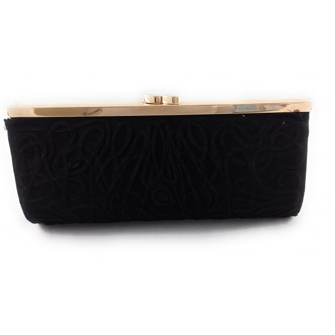Lotus Dina Black Microfibre Clutch Bag