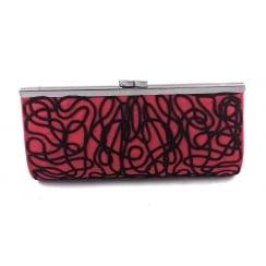 Dina Red and Black Microfibre Clutch Bag