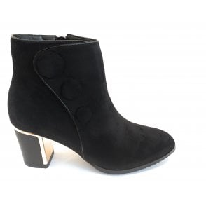 Donatella Black Microfibre Heeled Ankle Boots