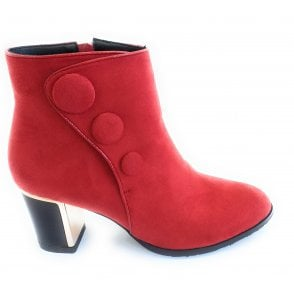 Donatella Red Microfibre Heeled Ankle Boots