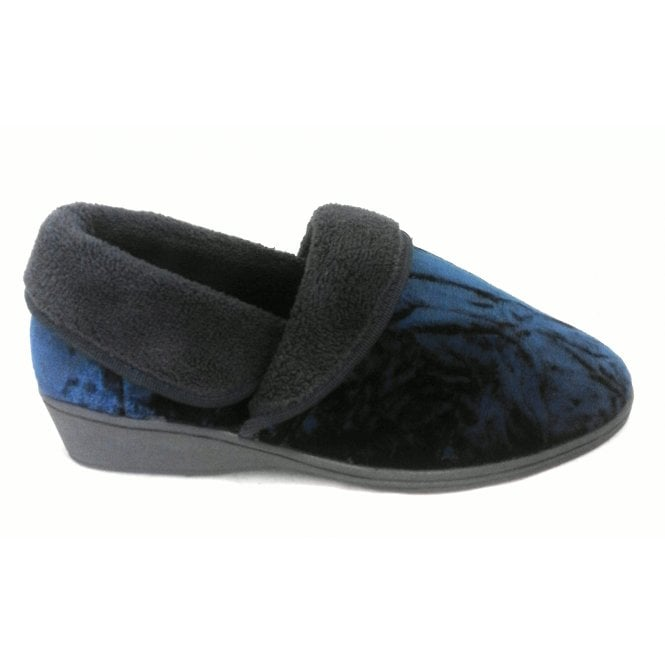 Lotus Doris Navy Full Slipper