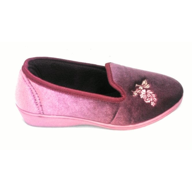 Lotus Dorothy Dusky Pink Velour Slipper