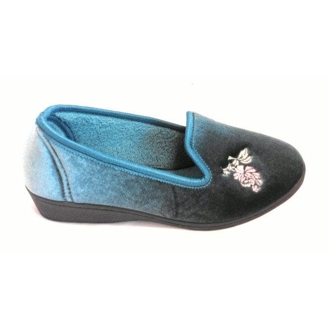 Lotus Dorothy Teal Velour Slipper
