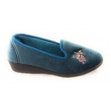 Dorothy Teal Velour Slipper