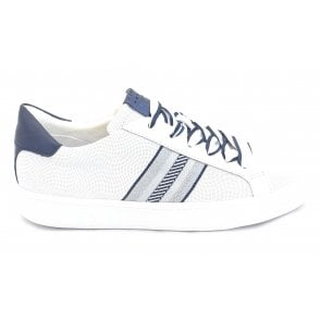 Durlo 2-23702 White and Navy Leather Trainers