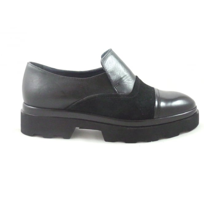 Aeros E381 Black Leather and Suede Chunky Loafer