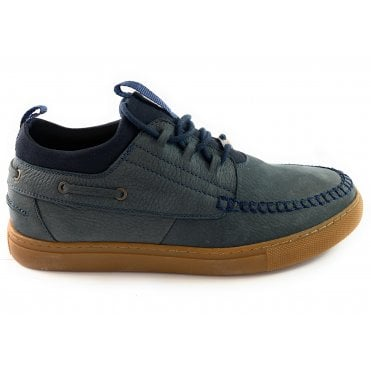 Eagles Navy Leather Lace-Up Casual Shoe