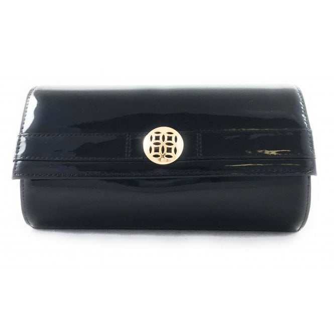 Lotus Eclipse Black Patent Clutch Bag