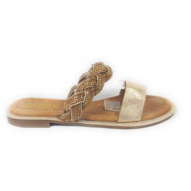 Lotus Eleanor Gold Diamante Mule Sandal