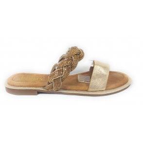 Eleanor Gold Diamante Mule Sandal