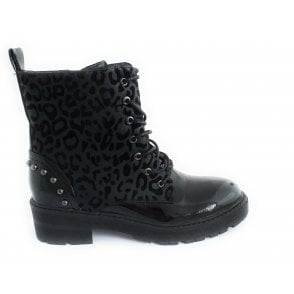 Elena Black Leopard Print and Patent Lace-Up Boot