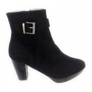 Ellie Black Suede Platform Ankle Boot