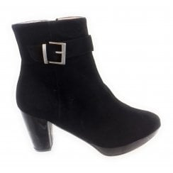 Ellie Black Suede Platform Ankle Boot