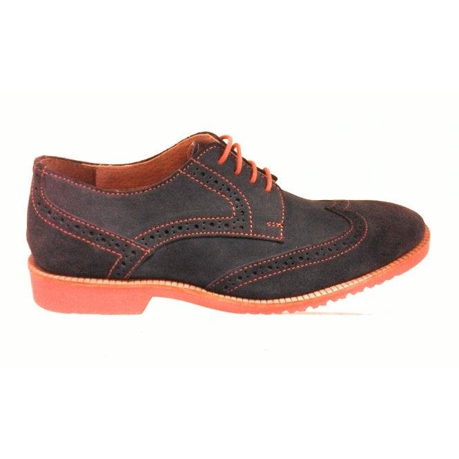 Lotus Ellison Navy Blue Suede Brogue