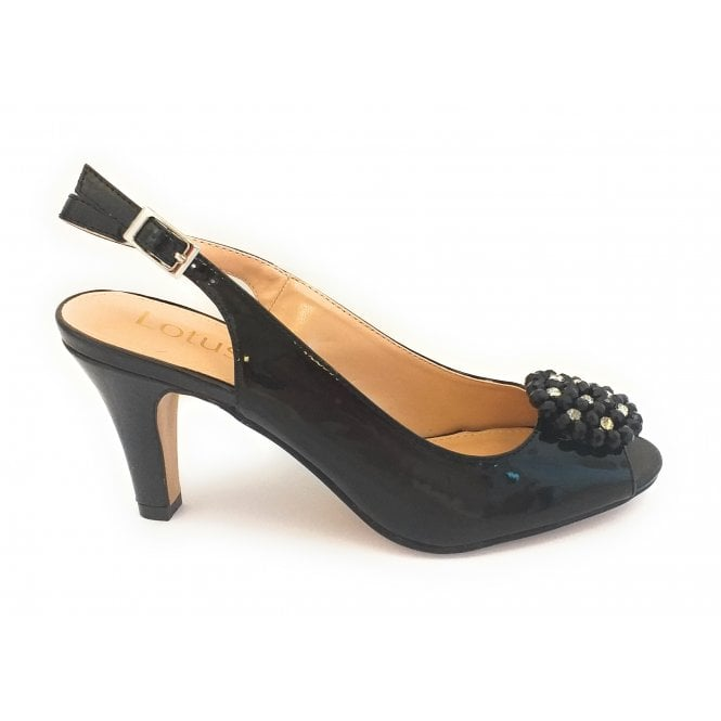 Lotus Elodie Black Patent Peep-Toe Sling-Back