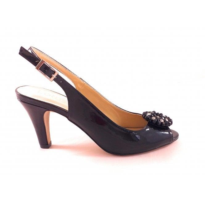 Lotus Elodie Black Patent Sling-Back Shoe