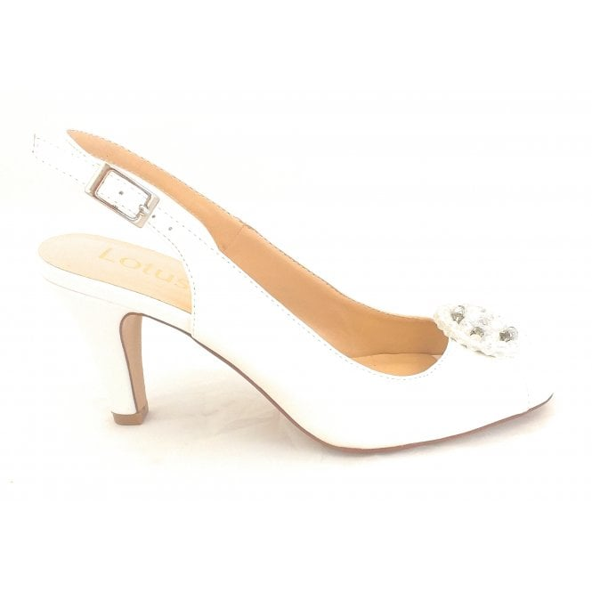 Lotus Elodie White Smooth Peep-Toe Sling-Back