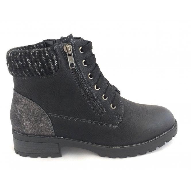 Lotus Emmeline Black Ankle Boots
