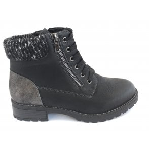 Emmeline Black Lace-Up Ankle Boot