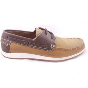 Exmouth Chestnut Leather Boat Shoe Size 8