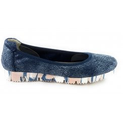 F161 Severa Navy Print Leather Pump Shoe