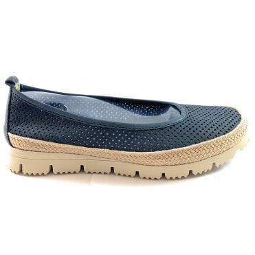F168 Navy Leather Casual Shoe