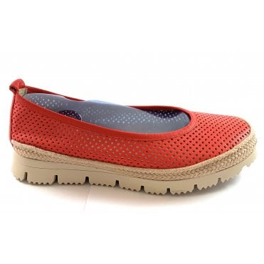 F168 Red Leather Casual Shoe
