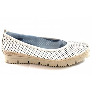 F168 White Leather Casual Shoe