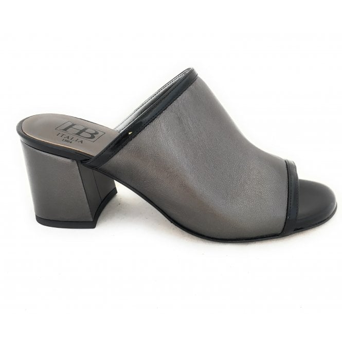HB F238 Pewter Leather Mule Sandal