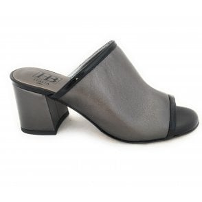 F238 Pewter Leather Mule Sandal