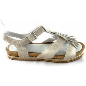 F265 Donata Beige Suede Flat Sandal