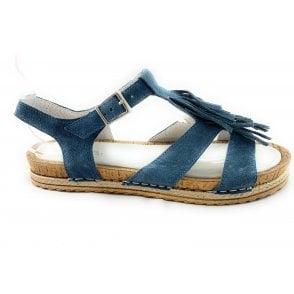 F265 Donata Blue Suede Flat Sandal