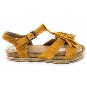 F265 Donata Yellow Suede Flat Sandal