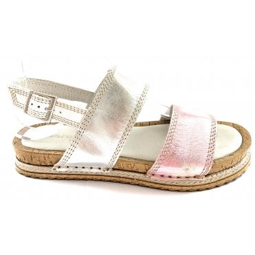 F267 Silver and Pink Metallic Open-Toe Sandal