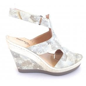 F308 Beige Leather Print Wedge Sandal