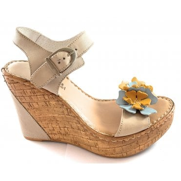 F602 Beige Leather Wedge Sandal