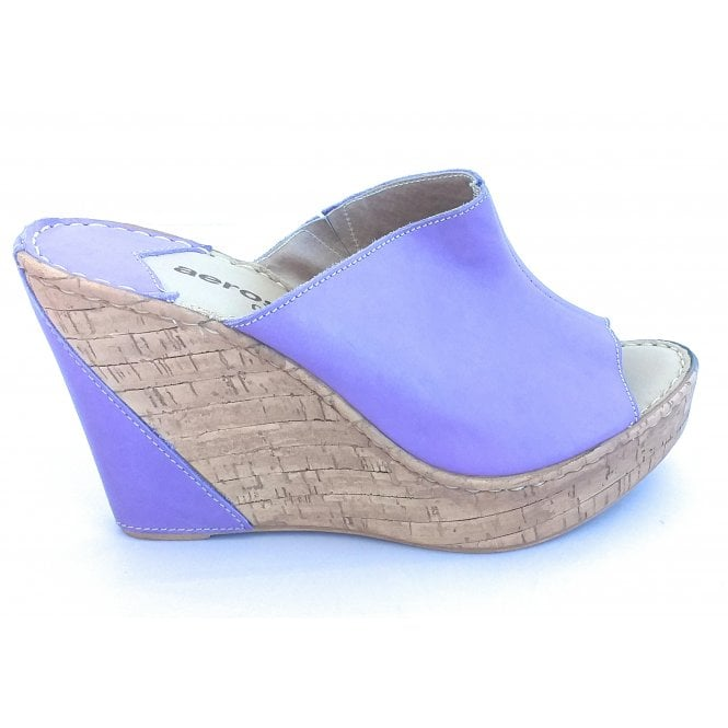 Aeros F604 Penelope Lavender Leather Wedge Mule