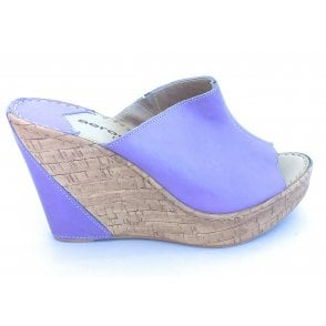 F604 Penelope Lavender Leather Wedge Mule