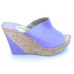 F604 Penelope Lavender Leather Wedge Mule
