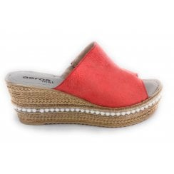 F731 Rosa Red Metallic Wedge Mule